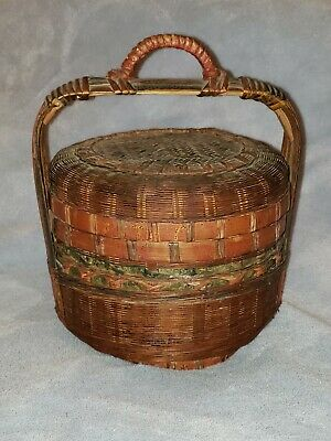 Vintage Small Antique Chinese Weaved Basket with Lid and Handle Green & Red