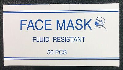 50 Count 3 Ply Face Mask Fluid Resistant Nose Bar Adaptable Blue Latex Free