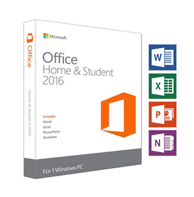 Retail Microsoft Office 2016 Home & Student for Windows PC Genuine