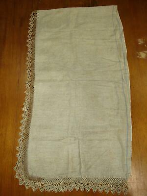 Handmade Vintage Natural Linen Table Runner with Two-Tone Beige Crocheted Trim