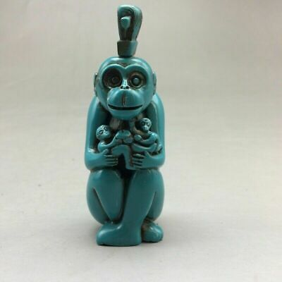 Antique Chinese turquoise snuff bottle hand-carved monkey snuff bottle.