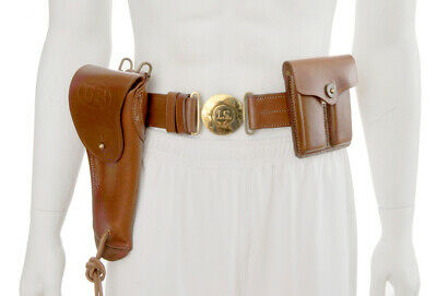 U.S. M1916 Holster, Leather Officers Belt and Leather .45 Magazine Pouch