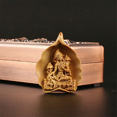 China Exquisite Boxwood Hand engraving Green Tara Bodhisattva Pendant