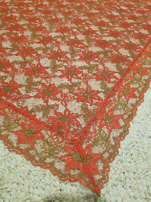 "Vtg Antique Red Poinsettia Lace Tablecloth Rect 52"" x 67"" Christmas Unused"