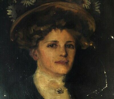 Antique Oil on Canvas Portrait of a Lady- French School? Rare Edwardian Painting