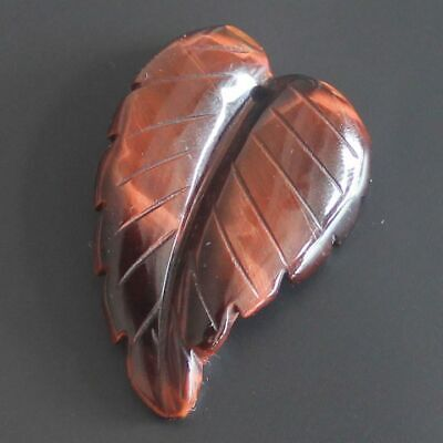 h47001 Hand carved red tiger eye leaf pendant bead 1.5''