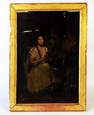 La Toilette- Antique 19th Century Oil on Panel Painting- Old French School Label