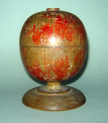 ANTIQUE OLD Apothecary MEDICAL Doctor Wooden Wood Pill Silverer on a Pedestal