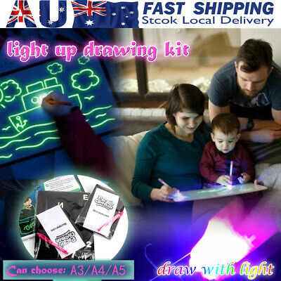 A3 A4 A5 Drawing Board Kids Light Up Draw Sketchpad Board Developing Toys + Pen