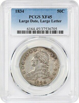 1834 50c PCGS XF45 (Large Date, Large Letter) Bust Half Dollar
