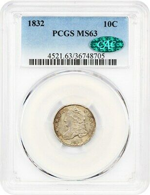 1832 10c PCGS/CAC MS63 - Pretty Type Coin - Bust Dime - Pretty Type Coin