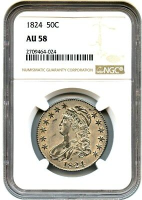 1824 50c NGC AU58 - Bust Half Dollar - Great Type Coin