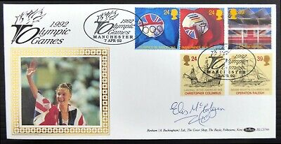 GB 1992 Olympics Benham FDC Signed by Liz McColgan CS718