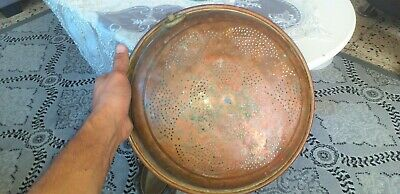 Vintage ANTIQUS Large Tray Copper  Serving Hammered Handles Hand W Brass STRIDE