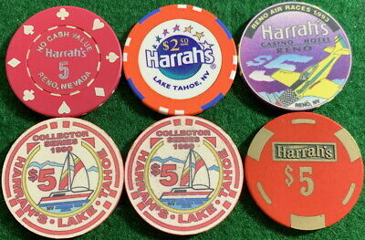 HARRAH'S Reno & Lake Tahoe 6 Casino Chip Collection $2.50 & $5 Rare Chips!