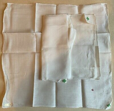 Vintage 3 x MENS Pure Linen Hankies Made in Ireland Initial G - Hand Rolled Hem