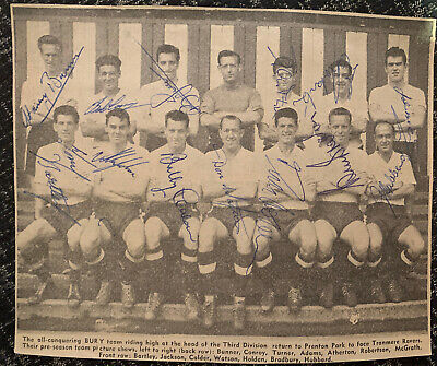 Signed 1960s Bury FC X13 Football Autograph Team Group 1950s Holden Hubbard ++