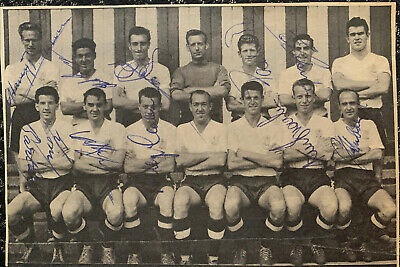 Signed 1960s Bury FC X10 Football Autograph Team Group 1950s Holden Hubbard ++
