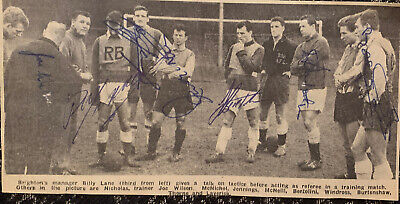 Signed 1960s Brighton & Hove Albion FC X7  Football Autograph Team Group 1950s