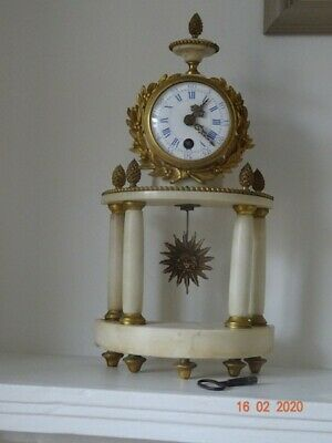 Antique French Portico Mantel Clock In White Marble & Ormolu/Gild Bronze