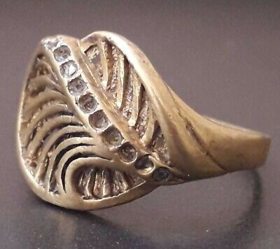 Ancient Unique Roman Bronze Extremely Rare Artifact Amazing Antique Ring Sz 7