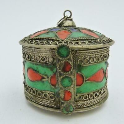 Middle Eastern Berber White Metal And Enamel Kabyle Bangle Box