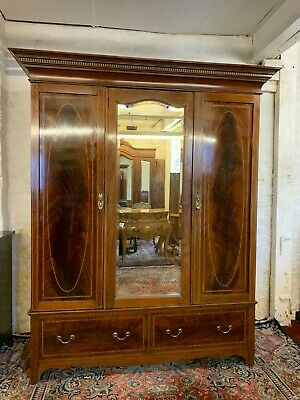 Fabulous Edwardian Inlaid Mahogany Mirror Door Wardrobe