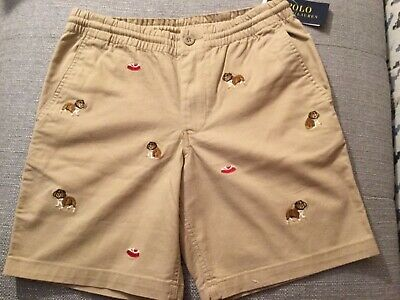 Polo RALPH LAUREN Chino Embroidered Bulldog Shorts Sz 18 youth NWT$54.99 beige