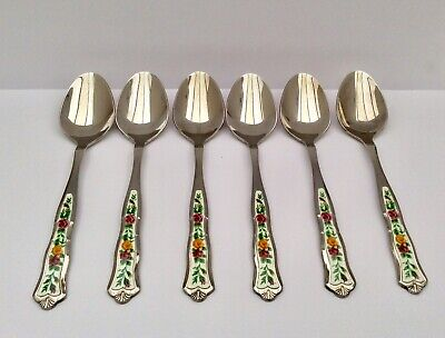 "Boxed Royal Albert ""Old Country Roses"" Monogram Tea Spoons X6"