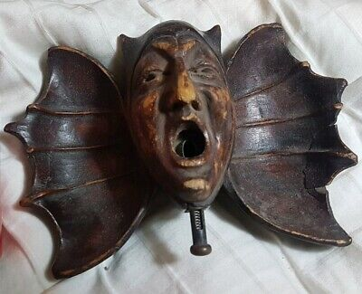 🔴Rare Antique Jester Cigar Cutter / Bat Wing Ashtray German Wood Black Forest