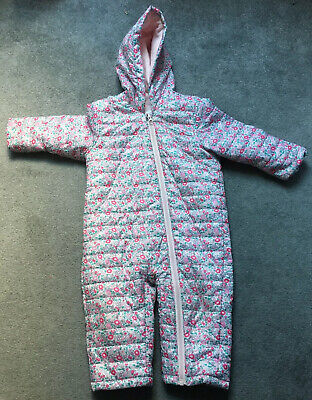 MARKS AND SPENCER  Baby Girl Floral padded snowsuit  All In One 12-18 months