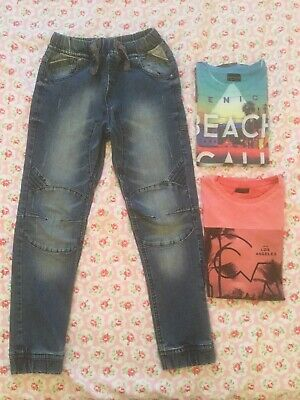 Next Boys Jeans & X2 T-Shirt Bundle Age 10 Years 140cm Venice Los Angeles