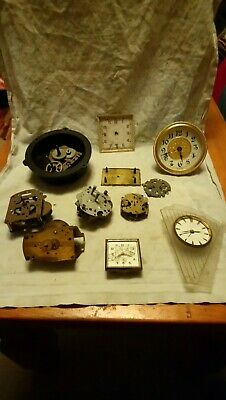 Joblot Of Small Clock Movements And Parts