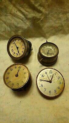 Four Old Small Clock Movements For Spares Or Repairs