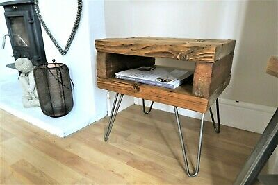 Wooden Side Table / Bedside Table Hairpin Legs Handmade Reclaimed Rustic Wood