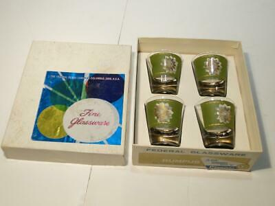 MCM Federal Glassware Rumpus Set Sunburst Pattern Shot Glasses Unused in Box