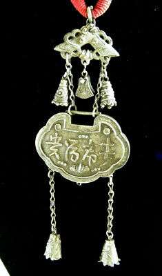Big Antique Chinese Oriental Writing Bird Bells Sterling Silver Pendant Necklace
