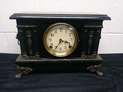 Antique Sessions Clock Co. Mantel Clock - Lion's Heads & Columns - with Key