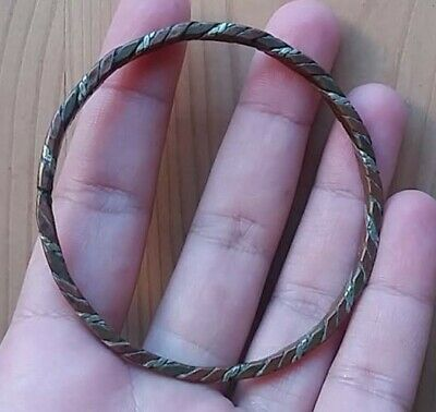 Ancient Viking Bronze Silver twisted Bracelet Musuem Quality Artifact