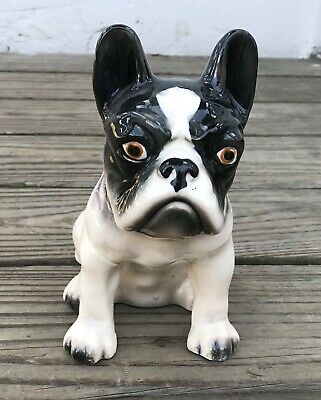 vintage Sitting Boston Terrier / French Bulldog Dog Planter