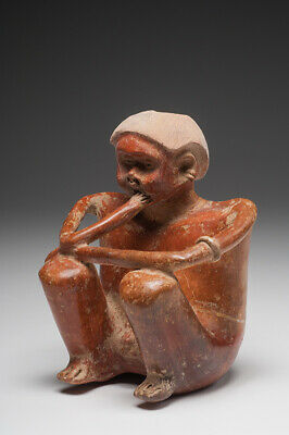 Ancient, Pre-Columbian, Chinesco Seated Figure of a Male (Ca. 100 BC) Ex- Museum