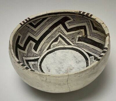 Ancient, Mogollon, Snow Flake Black on White Painted Bowl-1100 AD. NO RESERVE!!!