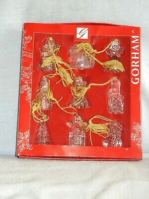 Set of 9 Gorham Crystal Christmas Ornaments in Box Angels Snowman Sleigh Tree