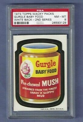 Wacky Packages Series 2 Gurgle Baby Food Psa 8 Nmmt White Back