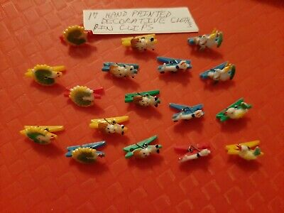 Vintage Gumball/Dime Store Hand  Painted Decorative Clothes Pin Clips Lot Of 17