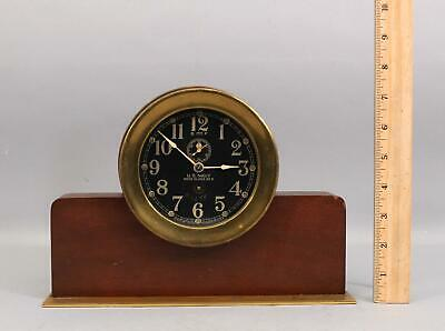 Antique WWII Period, Seth Thomas US Navy Deck Clock No. 2,  Mahogany Brass Stand