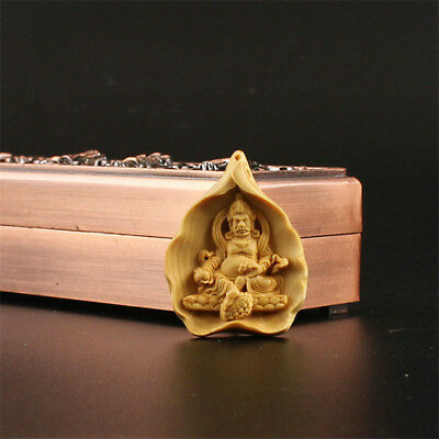 China Exquisite Boxwood Hand engraving Yellow Jambhala Pendant