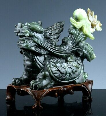Great Chinese Carved Emerald Green Jade Jadeite Mythical Turtle Dragon Figure