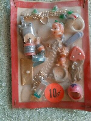 Vintage Gumball/Vend 10 Cent Display Card With Pastel Charms/Toys Locks/Jewelry