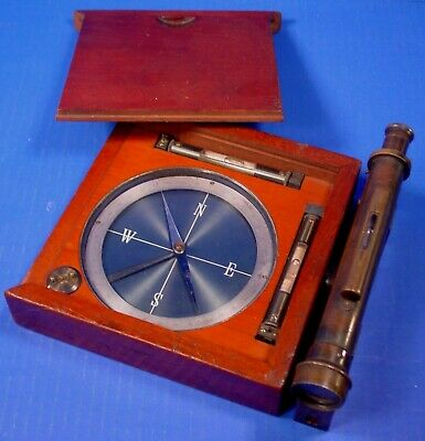 1800s Antique Box Compass with Tilting Scope, Exc. Cond.